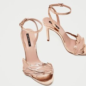 {zara} braided leaf detail golden sandal heels